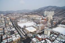 2017년 1월 20일 눈이 내린 신구대학교 설경을 드론으로 촬영한 사진